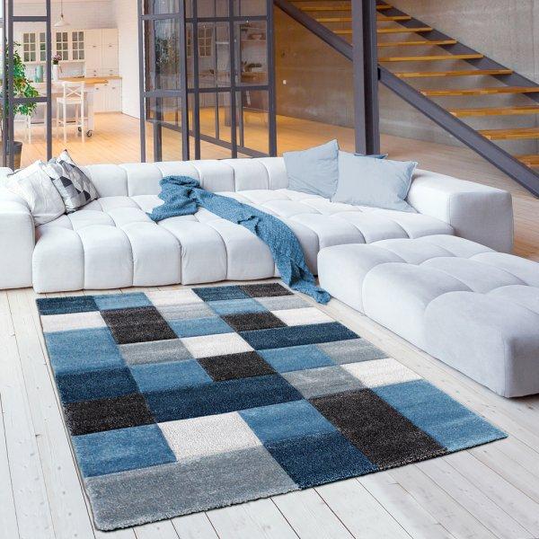 Moderner Jugendteppich Karo Pastell Blau Creme Weiß