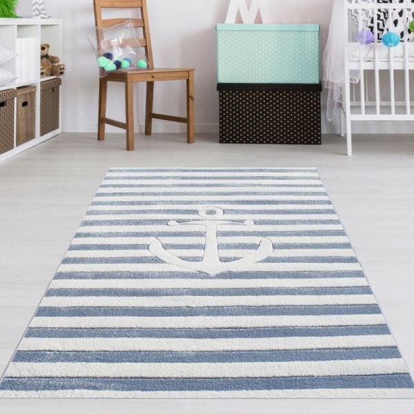 Kinderzimmer Teppich Anker Blau Weiß