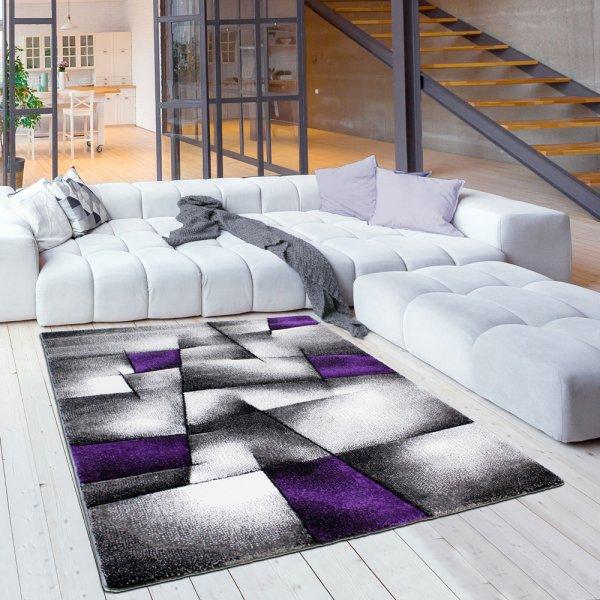 Moderner Jugendteppich in Grau/Lila