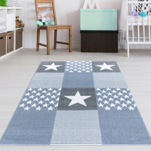 Kinderteppich Jungen Sterne Muster Blau