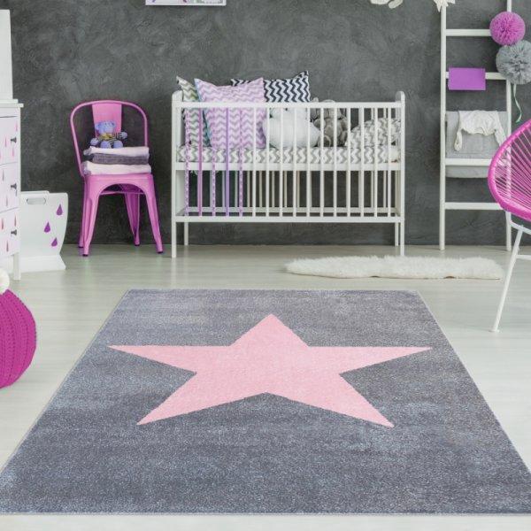 Teppich mit Stern Grau Rosa