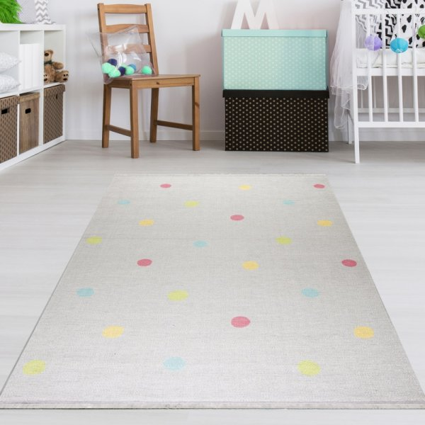 Kinderteppich Bunte Punkte Grau - Waschbar