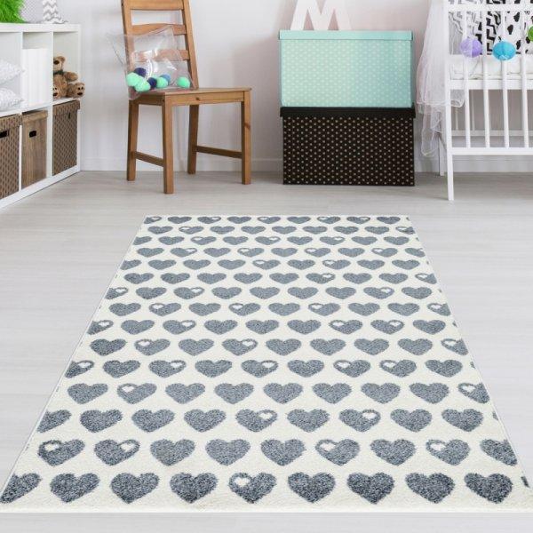Teppich mit Herzen Grau Weiß
