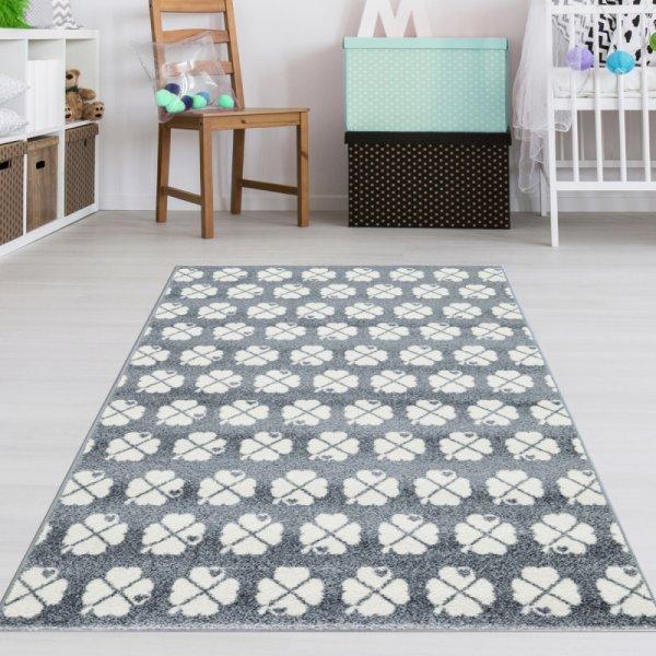 Kleeblatt Teppich Grau Weiß