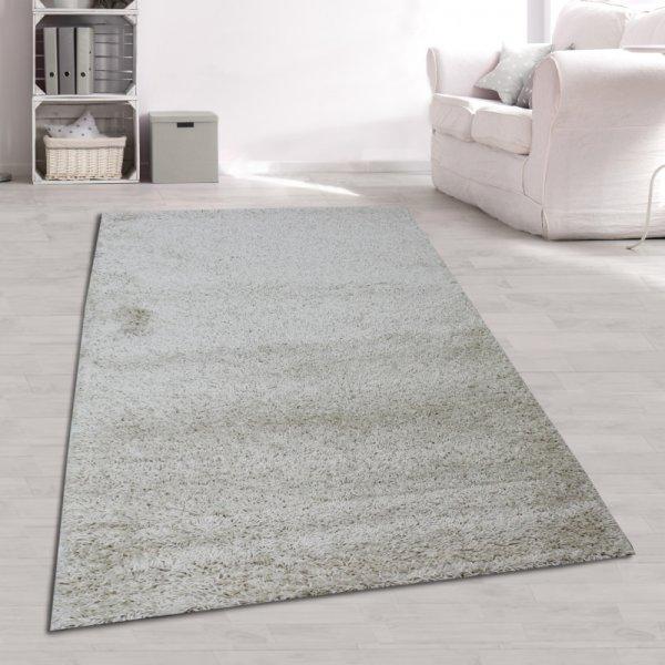 Hochflor Teppich Einfarbig Creme Beige