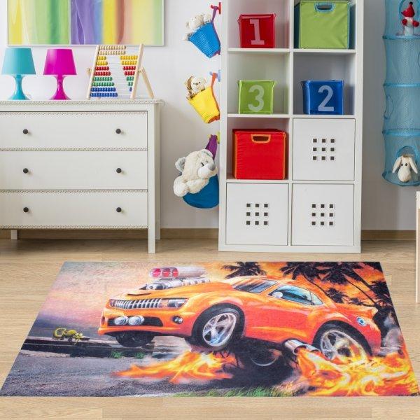Kinderteppich Auto Rennauto Waschbar & Rutschfest