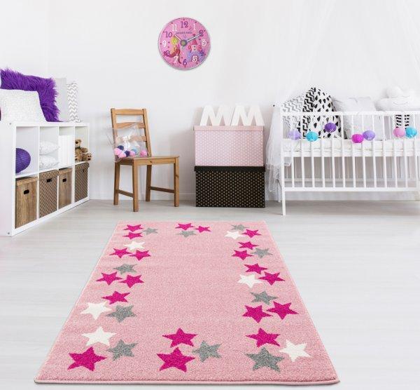 Kinderteppich Rosa Weiß Flieder Sterne
