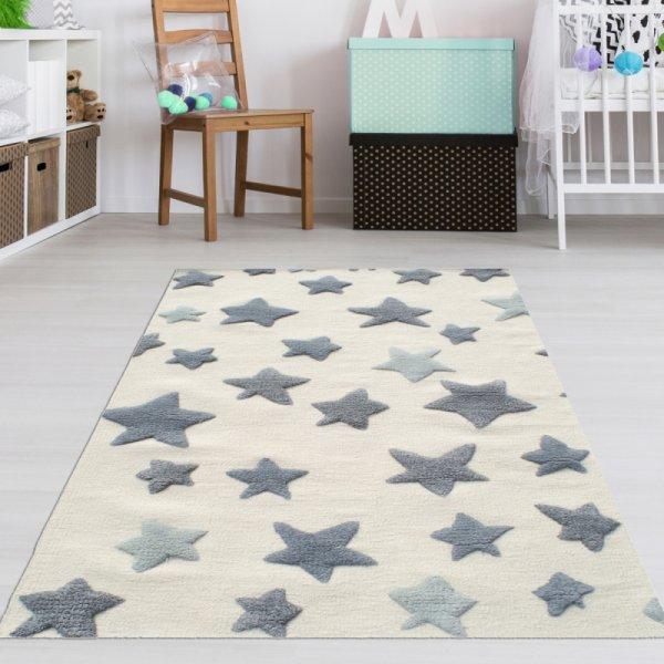 Sternen Teppich für Kinderzimmer Creme Grau