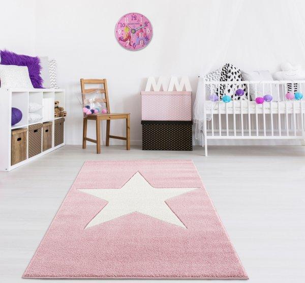 Kinderteppich Stern Rosa Weiß Velour