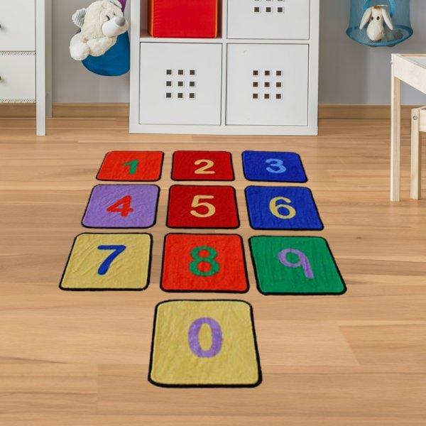 Teppichfliesen Zahlen - Kinderteppich mit 10 bunten Fliesen 35x35cm