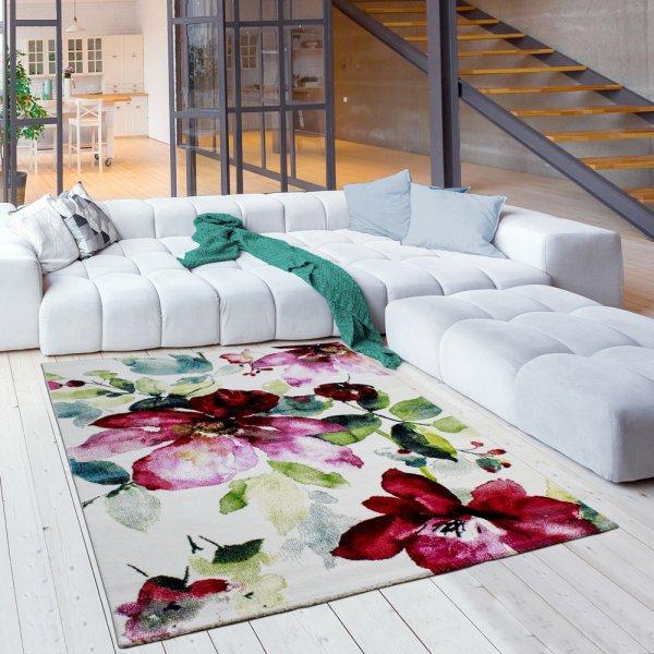 Jugendzimmer Teppich für Mädchen Blumen Muster Bunt