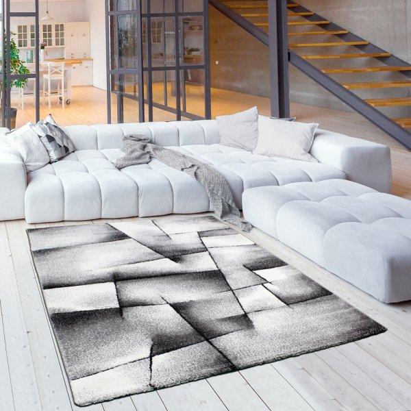 Moderner Jugendteppich in Grau/Anthrazit