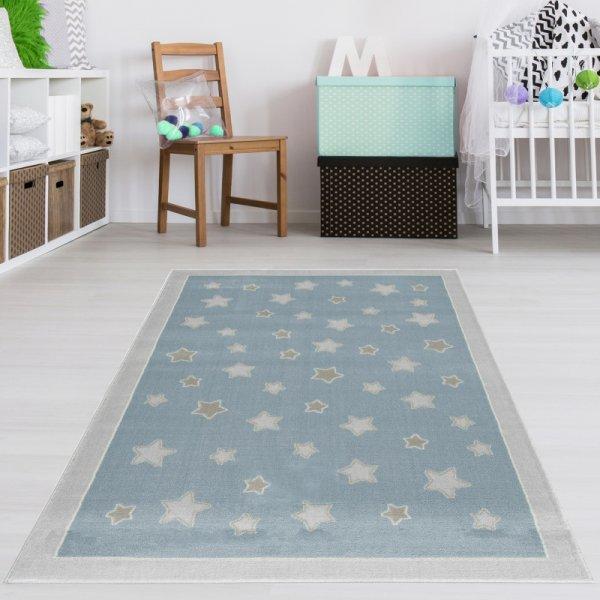 Kinderteppich Sternenhimmel Blau Grau