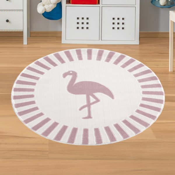 Kinderteppich Flamingo Rosa Weiß