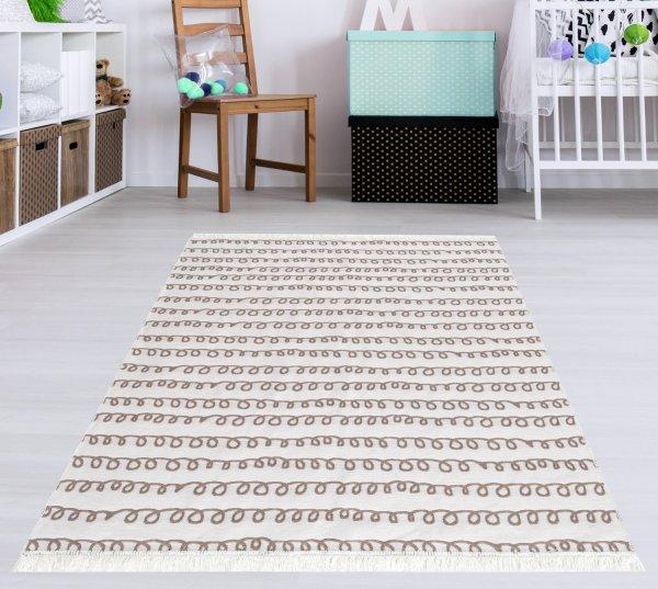 Waschbarer Teppich Piatto TRIANGEL natur/weiß