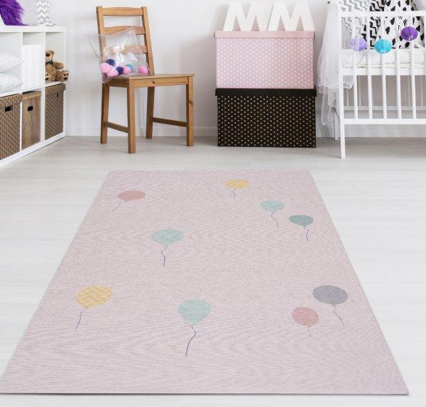 Kinderteppich Happy Rugs BALOON rosa,Waschbar 90x160 cm