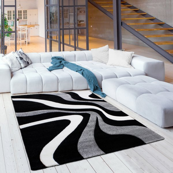 Jugend Teppich Kurzflor Wellen Grau Schwarz Weiß