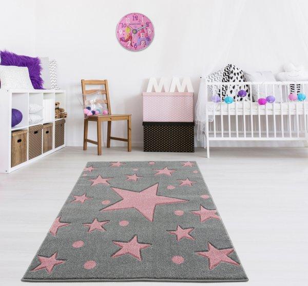 Kinderteppich Grau Rosa Sternenhimmel Punkte