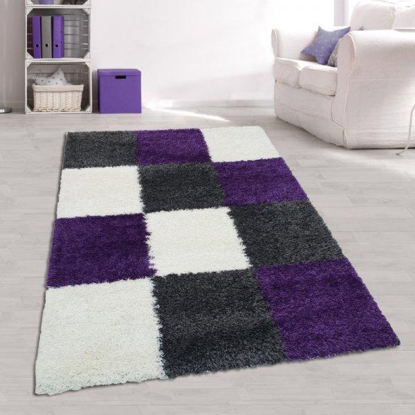 Jugendstil Teppich Hochflor Karo Muster Grau Lila Weiß