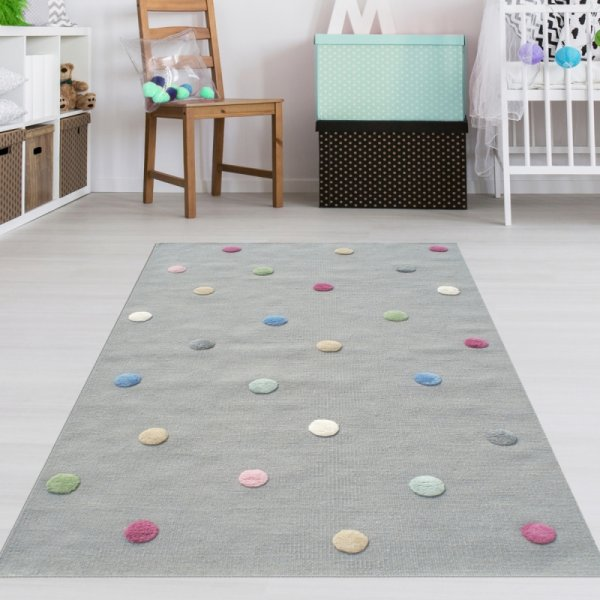 Kinderteppich Grau Punkte