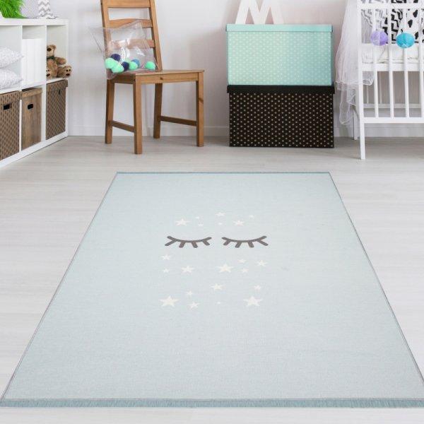 Kinderzimmer Fransenteppich Schlafende Augen Mint