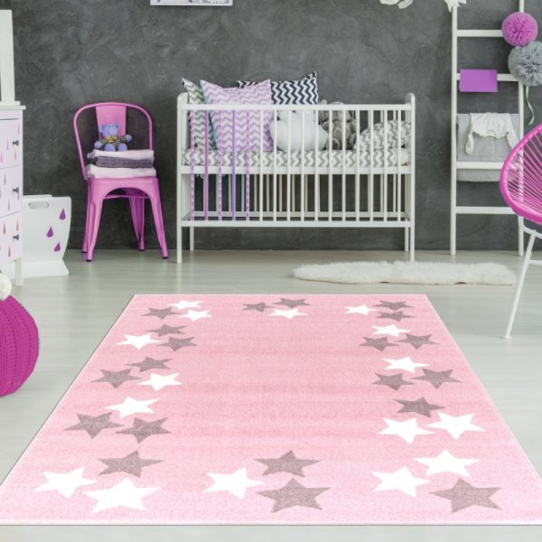Mädchenzimmer Teppich Sterne Rosa | Teppich4Kids