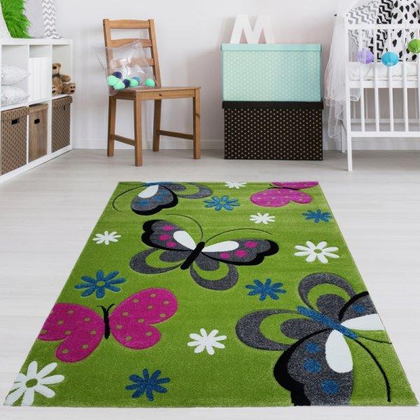 Kinderzimmer Teppich Schmetterling Grün