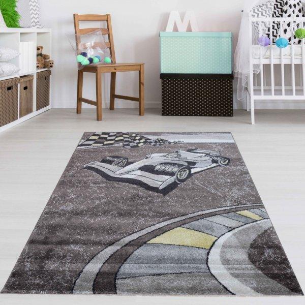 Kinderteppich Formel 1 Braun Grau