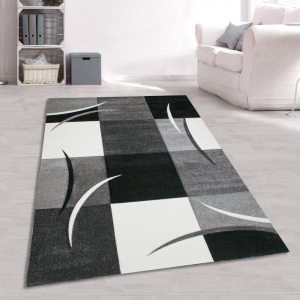 Jugend Teppich Karo Muster Schwarz Weiß Grau