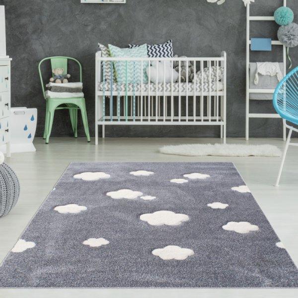 Kinderzimmer Wolkenteppich Grau