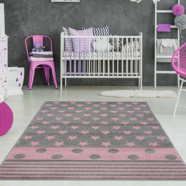 Sterne Teppich mit Streifen & Punkten Grau Rosa