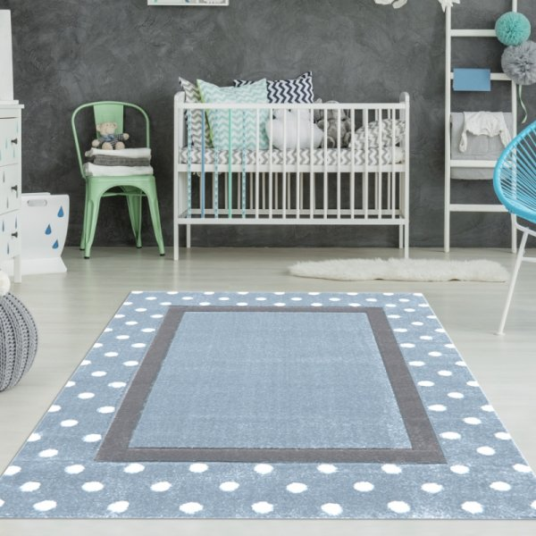 Kinderzimmer Teppich Punkte & Rechteck Blau