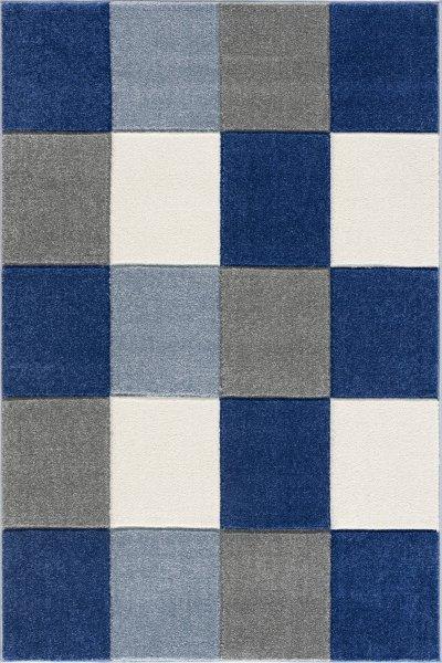 Kinderteppich Kariert Blau Grau Hellblau
