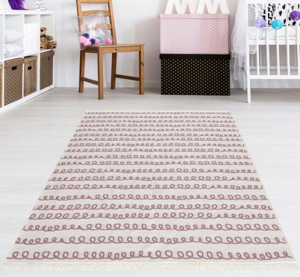 Waschbarer Teppich Piatto TRIANGEL rosa/weiß