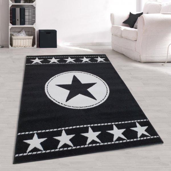 Jugendteppich Sterne Schwarz Weiß
