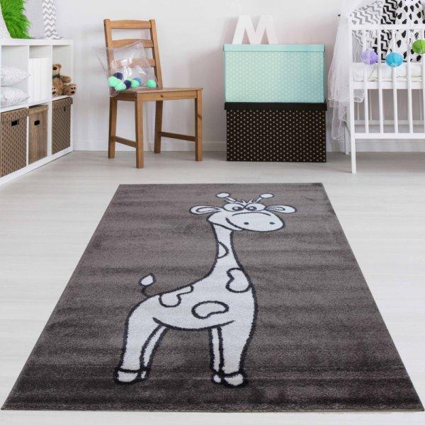 Kinderteppich lustige Giraffe Braun Weiß