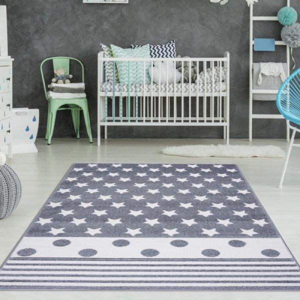 Sterne Kinderteppich mit Punkten & Streifen Grau Weiß