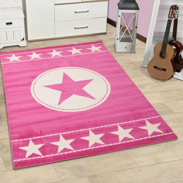 Kinderteppich Sterne pink