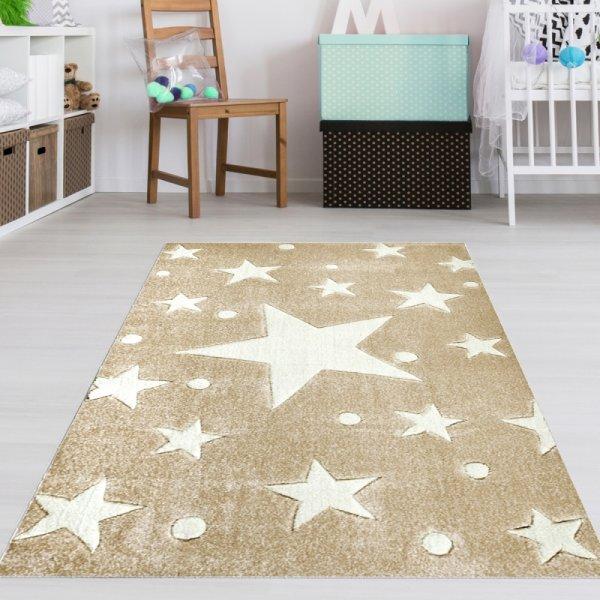 Sterne Teppich Sandfarbe