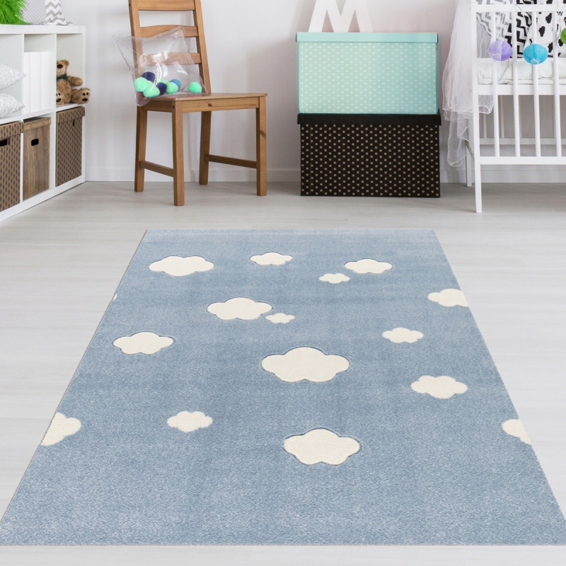 Kinderzimmer Teppich Wolken Blau