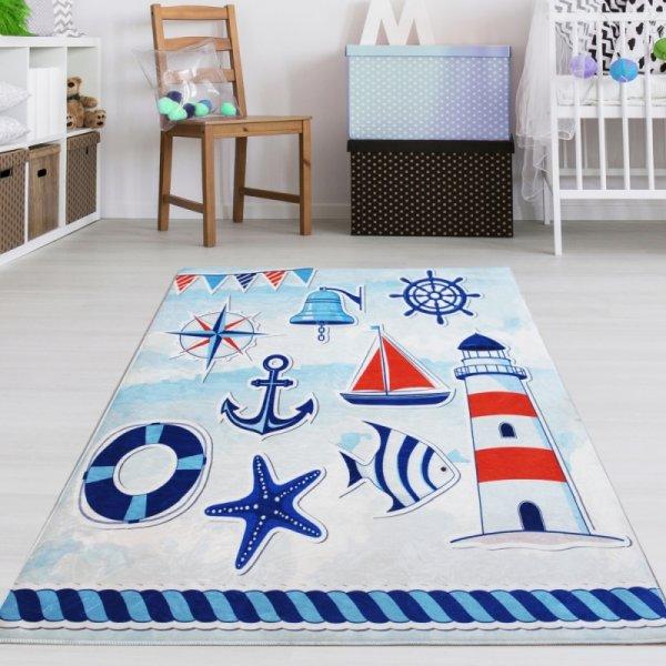 Kinderteppich Leuchtturm Blau Weiß Waschbar & Rutschfest