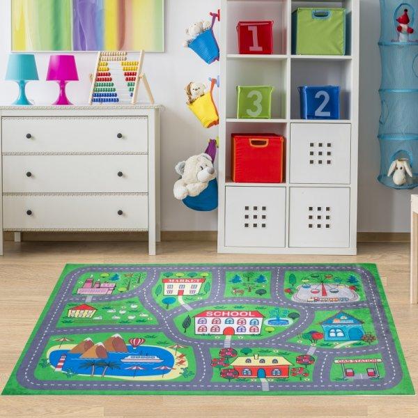 Spielteppich Straßen & Häuser Grün Waschbar & Rutschfest