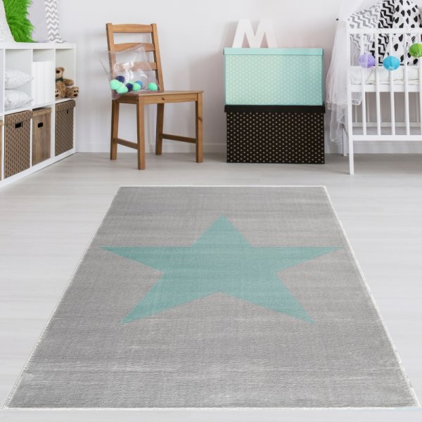 Kinderteppich Stern Grau Mint Velour