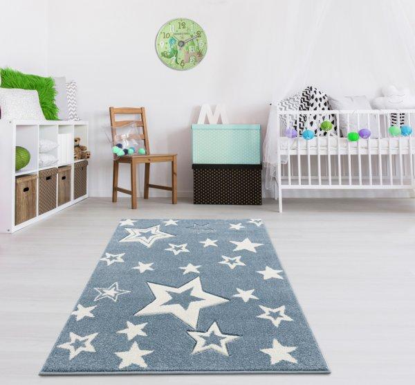 Kinderteppich Sternenhimmel Blau Weiß