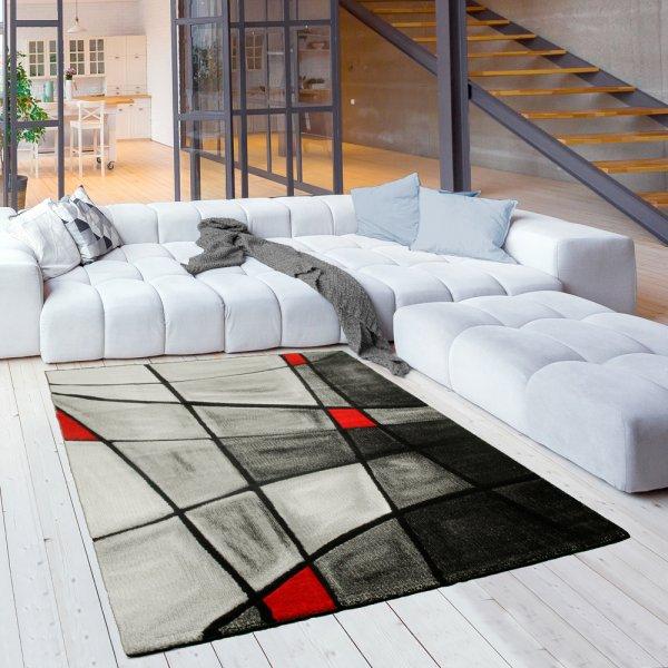 Moderner Teppich Abstrakt Kariert Grau Rot