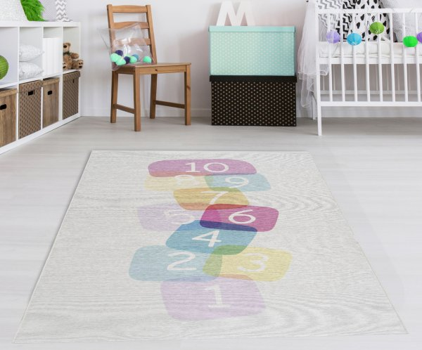 Kinderteppich Happy Rugs HOPP AND PLAY pastell, waschbar 90x160cm