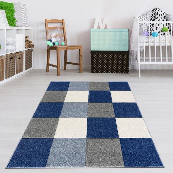 Kinderteppich Kariert Blau Grau Blau