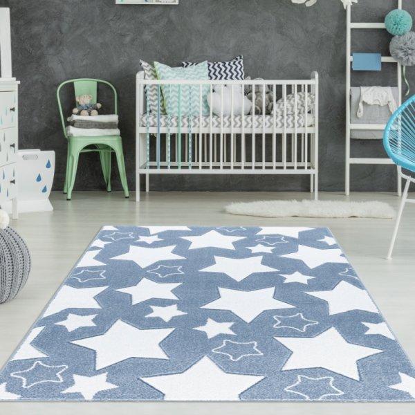 Jungen Teppich Sterne Blau Weiß