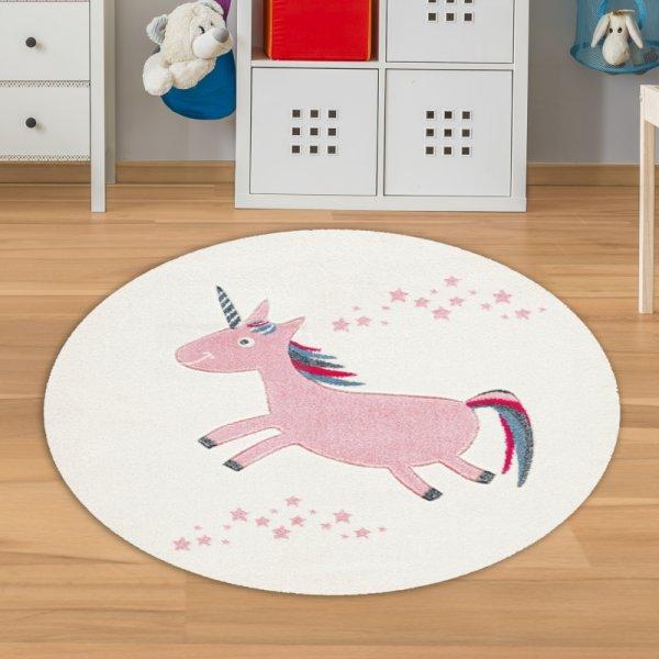 Kinderteppich Einhorn Rund Rosa