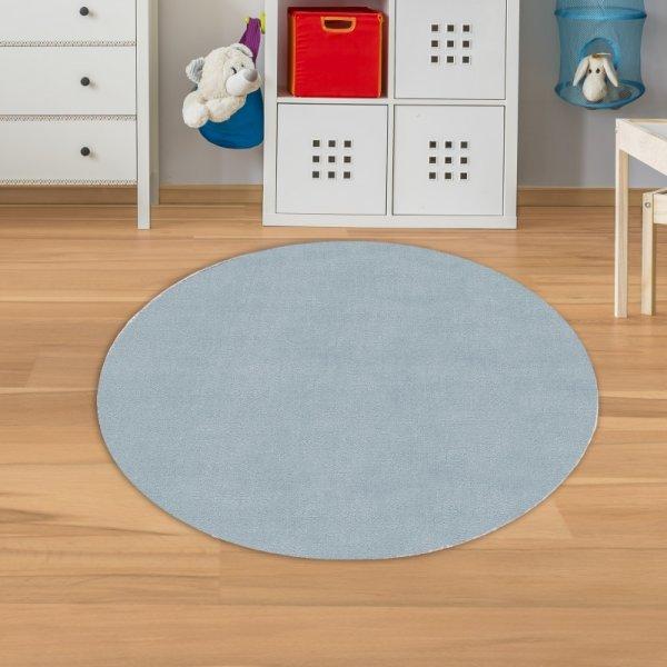 Kinderteppich Unifarben Blau Velour Rund
